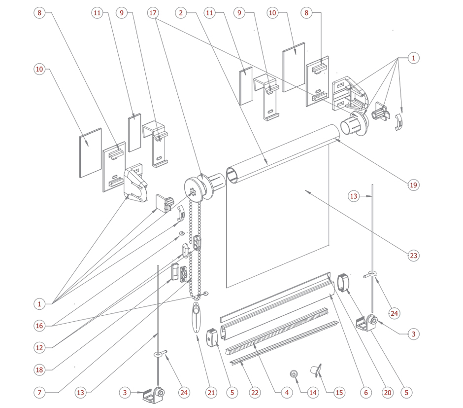 Схема MINI рулонных штор