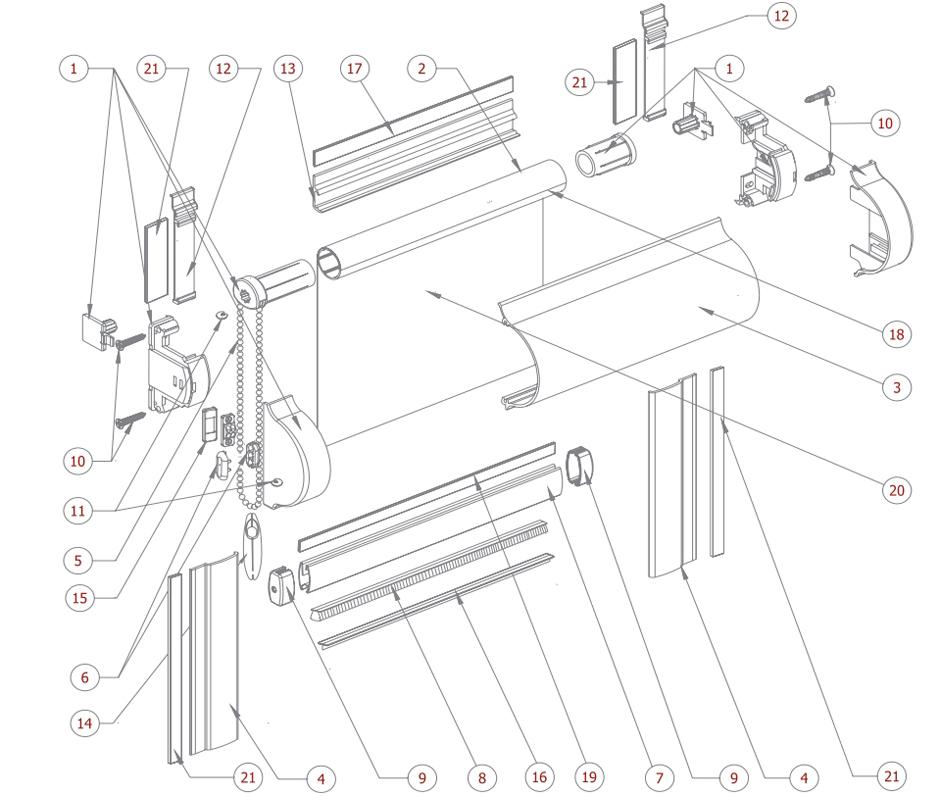 Схема миникасетных рулонных